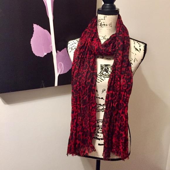 535c17bada687 Jones New York Accessories | Jny Red Leopard Print Scarf | Poshmark